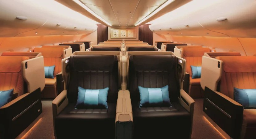Singapore's business-class cabins are laid out in a 1 - 2 - 1 configuration. Photo courtesy of Singapore Airlines.