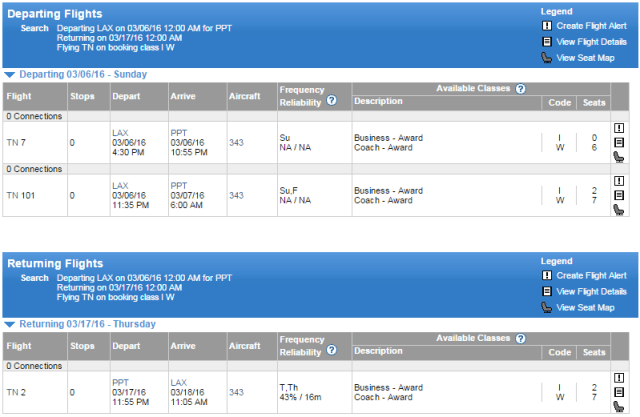 ExpertFlyer award availability for Air Tahiti Nui next March; SkyMiles members should have access to this space (though you'll need to call to book).