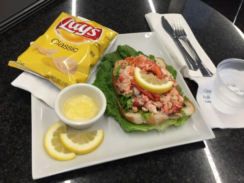 My first acceptable meal in an Admirals Club, the lobster roll wasn't that bad.