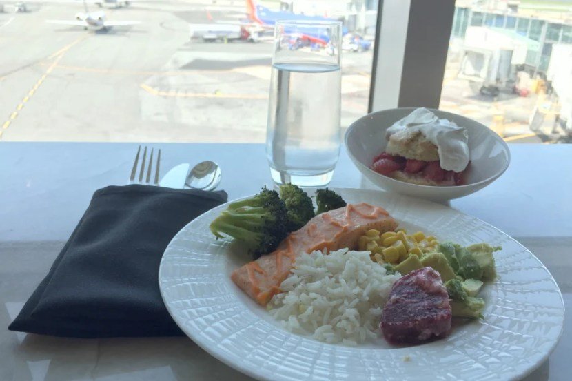 Enjoy gourmet food with a view at the Centurion Lounge in LGA.