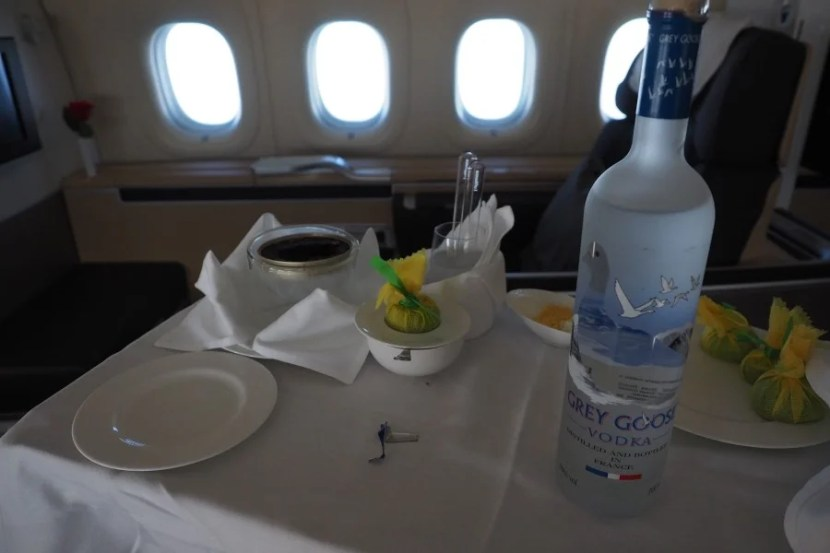 The fantastic caviar with Grey Goose.