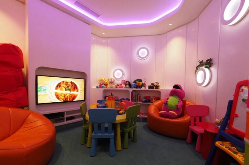 Family playroom at Etihad's Sydney lounge.