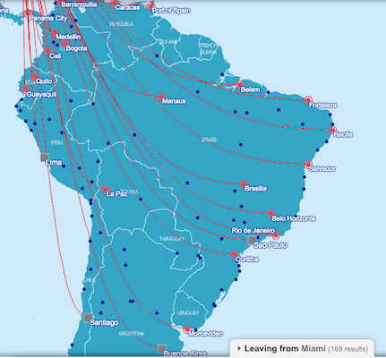 South American destinations served nonstop on the OneWorld Alliance.