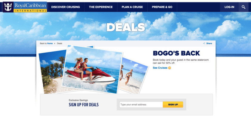 Sign up for e-mail newsletters from preferred cruise ships to get word of upcoming deals and promotions.