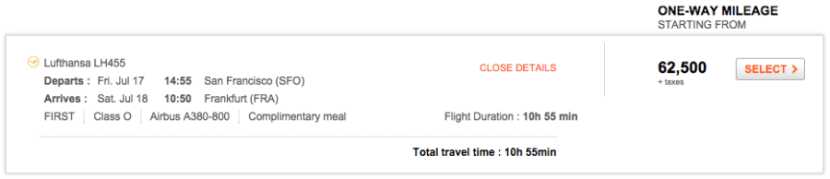 Aeroplan.com is a great place to search for all Star Alliance award availability — including Lufthansa.