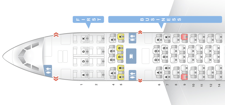 Located behind first class, the A330 business-class cabin consists of 45 seats in 10 rows.