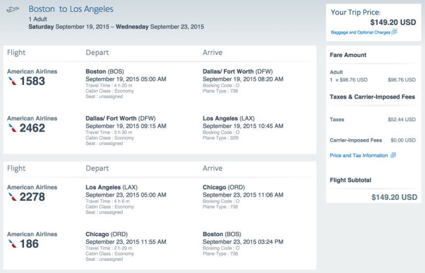 Boston to Los Angeles for $149 on AA.