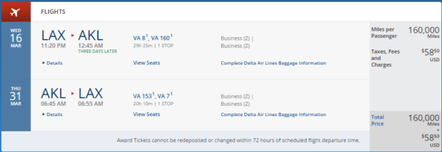 Los Angeles to Auckland in business class, March 16-31