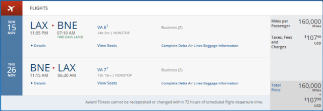 Los Angeles to Brisbane in business class, November 11-26