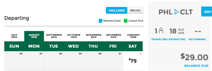 Head from Philadelphia to Charlotte for $29 one-way.