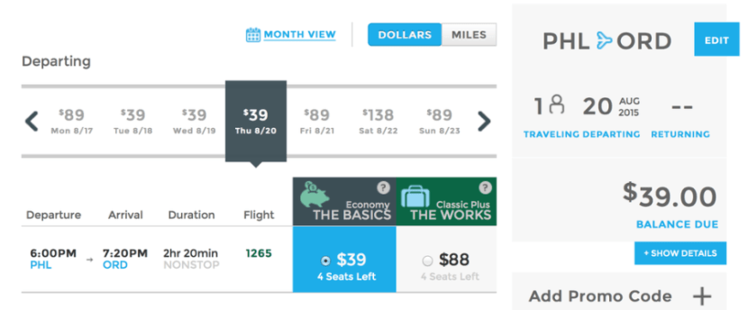 Head from Philadelphia to Chicago for $39 one-way on Frontier Airlines.