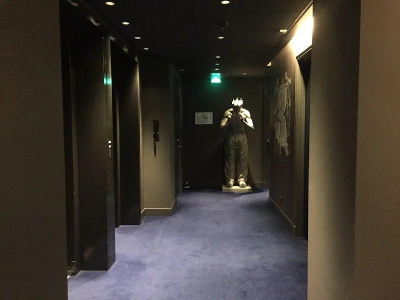 My hallway - dark with strange statues.