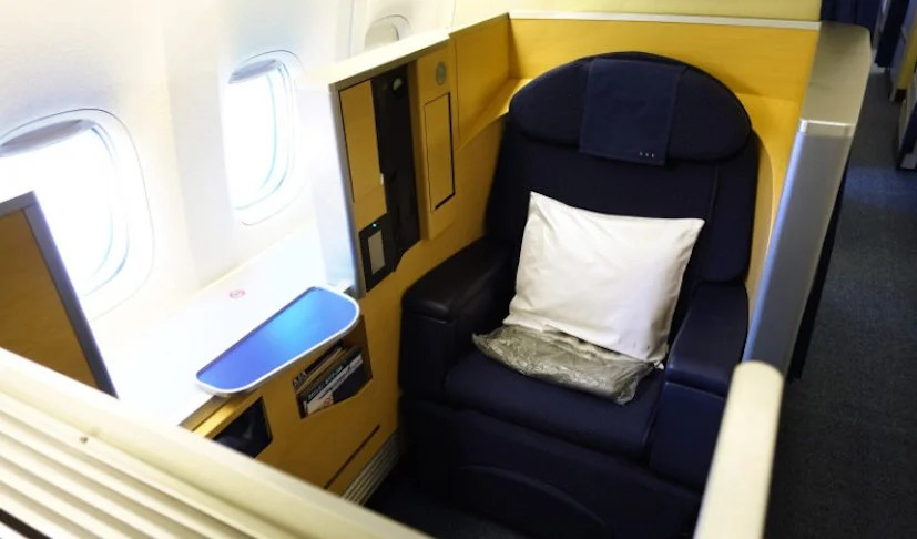 "A first-class ""cube"" seat on ANA's 777-300ER."