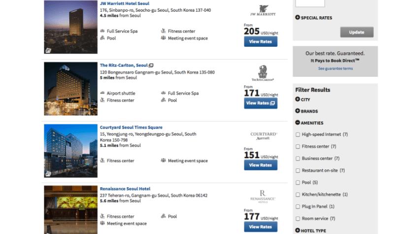 Marriott Seoul prices