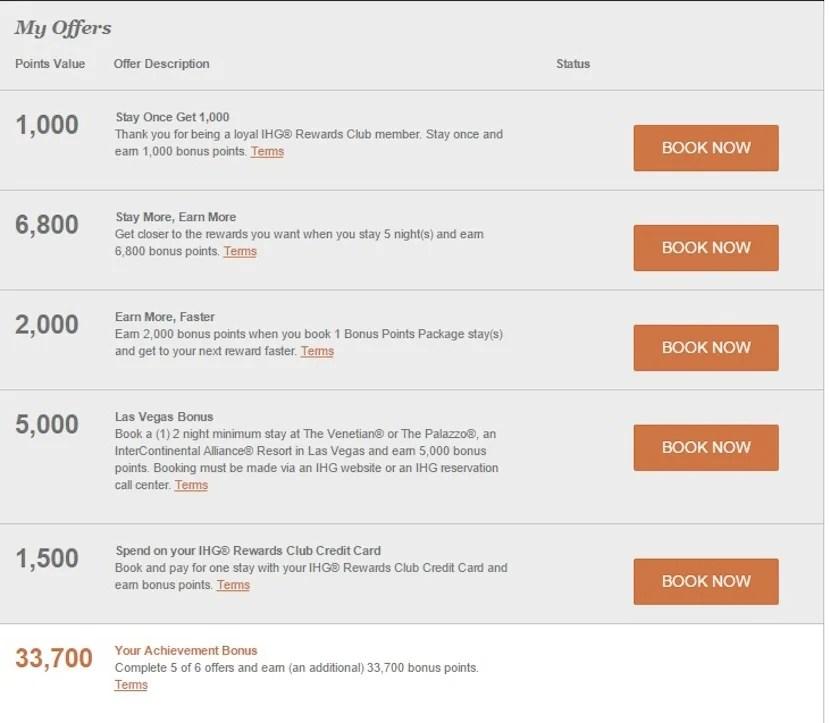 My IHG Rewards offers