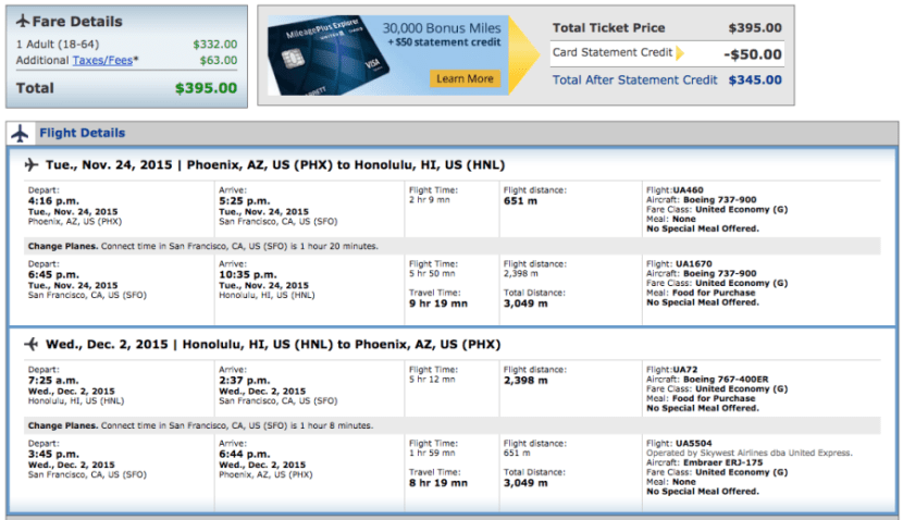 Phoenix to Honolulu for $395 over Thanksgiving on United.