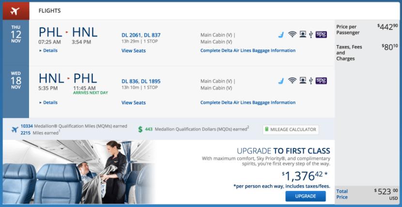 Philadelphia to Honolulu for $523 on Delta.