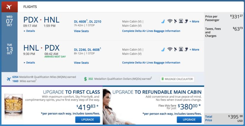 Portland to Honolulu for $395 on Delta.