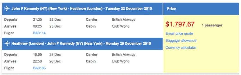 New York (JFK) to London (LHR) in business class on British Airways for $1,798.