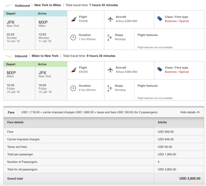 New York (JFK)-Milan (MXP) for $1,900 person per in business on Emirates.