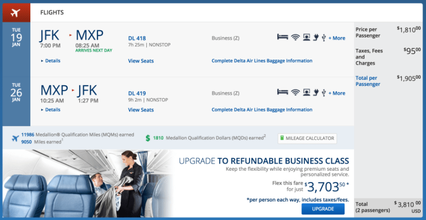 New York (JFK)-Milan (MXP) for $1,905 on Delta in business.