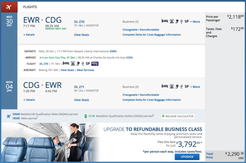 Newark (EWR) - Paris (CDG) for $2,267 round-trip in business on Delta.