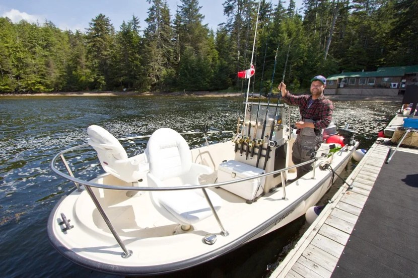 One of the 22-foot Boston Whaler fishing boats, guide included, that zip guests out on the coastal waters off Northern British Columbia