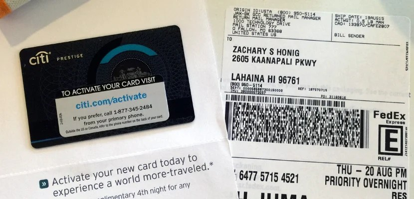 A brand new Citi Prestige card, overnighted to my hotel in Hawaii.