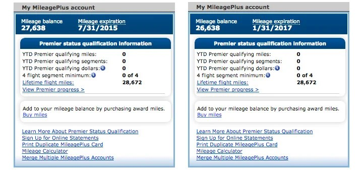 The balance and expiration date before (left) and just a few seconds later (right).