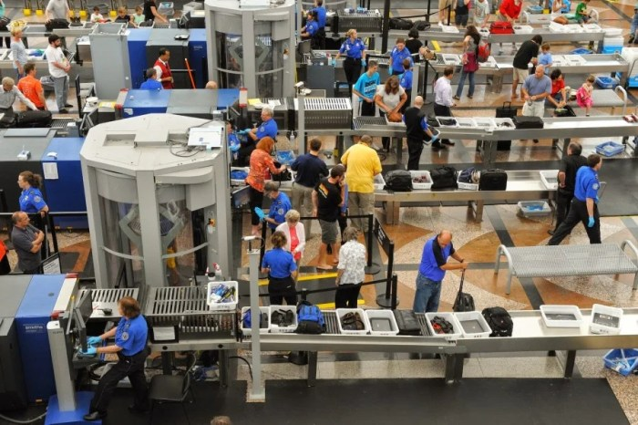 You get to leave when you're through security ...but a TSA officer doesn't. Photo courtesy of the TSA.