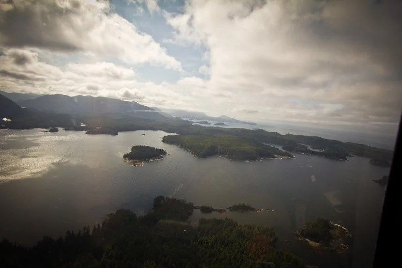The view from the helicopter as you fly into Haida Gwai, a remote area in northern British Columbia.