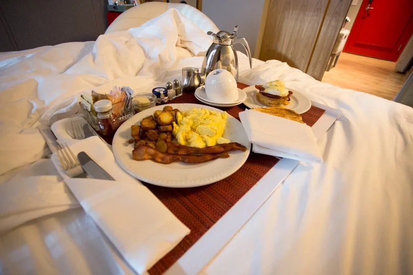 I'm not usually one to order room service with excessive fees and charges, but when the price is right, why not?
