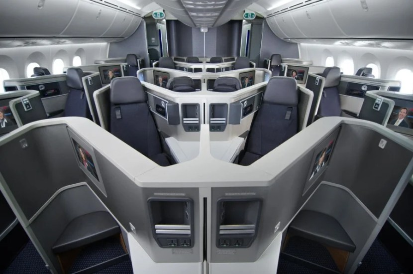 Business class on American Airlines' Dreamliner.