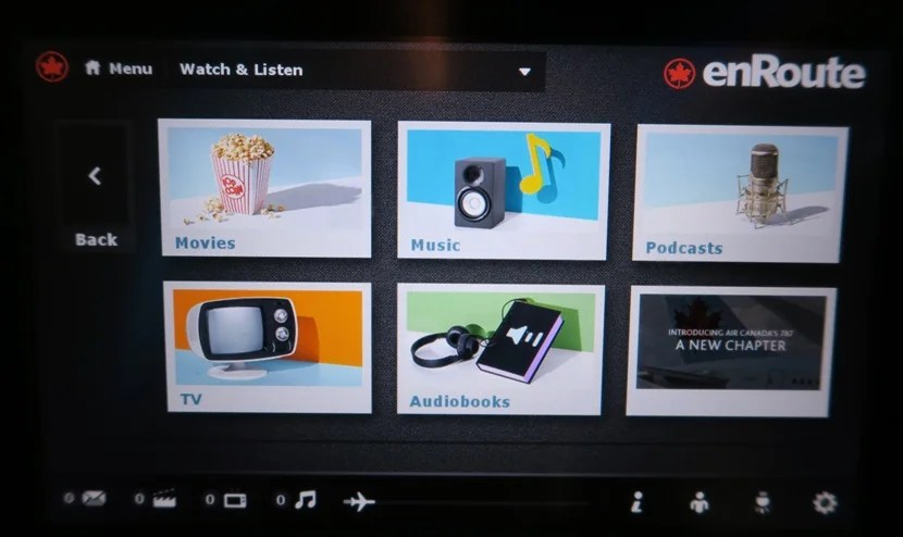 In-flight entertainment options.