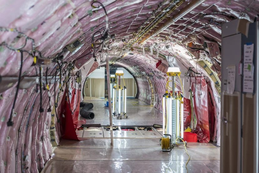 Inside an Airbus A321 in Alabama.