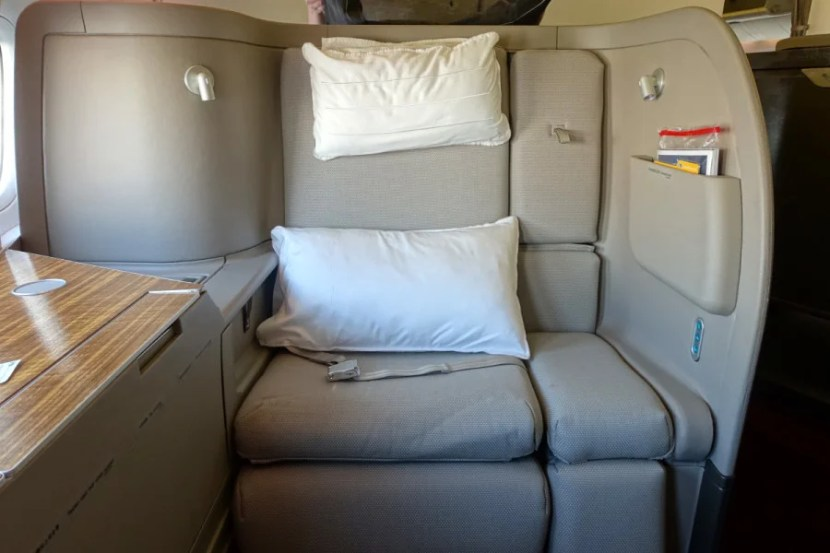 Cathay Pacific's HUGE first-class seat.