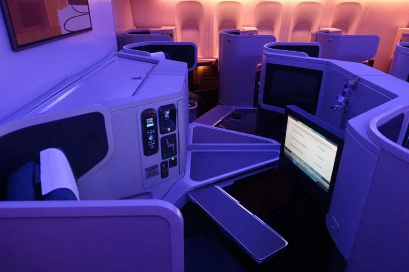 A pair of middle seats in the business cabin.