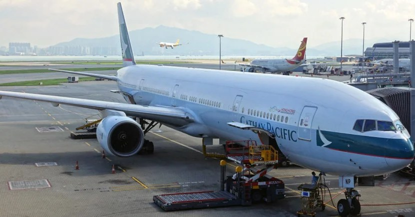 A Cathay Pacific 777-300.