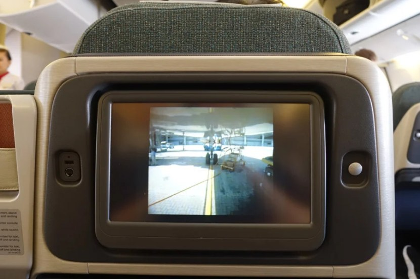 There's a camera feed from below the plane.