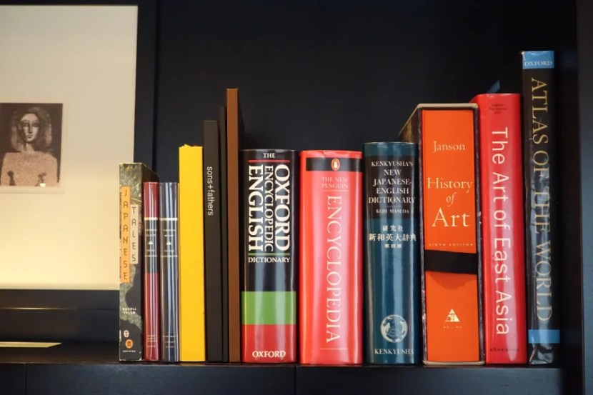 A selection of books above the minibar.