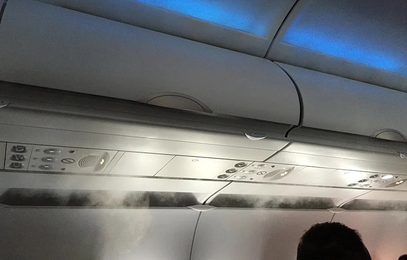 There was a fog that came out of the vents while boarding due to the temperature differences in the aircraft that concerned many passengers — the flight attendants certainly had to explain it over and over!