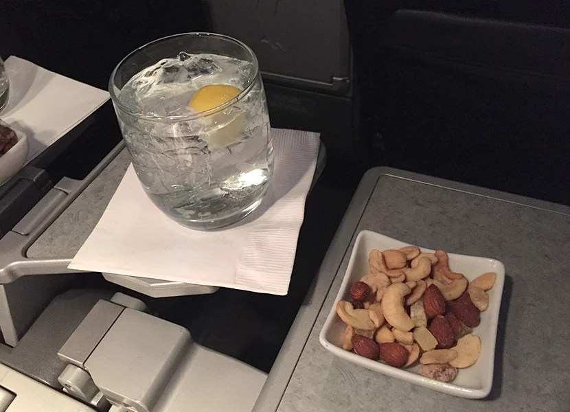 The nut mixture is special on Hawaii flights - it included delicious candied pineapples and other special nuts.