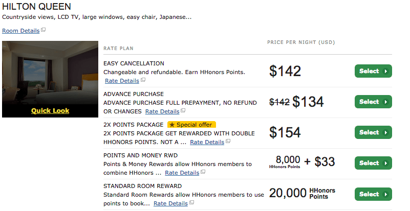 Pay 8,000 points and $33 instead of 20,000 points or $142 for the Hilton Narita Airport.