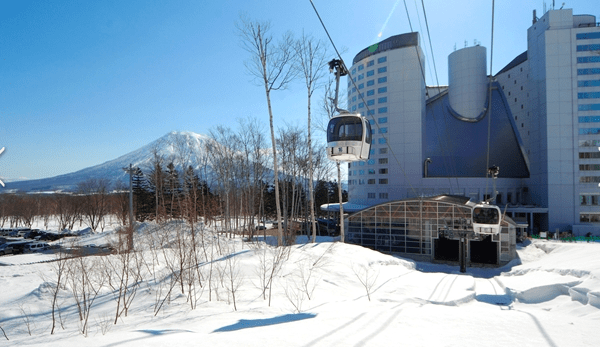 Ski in and out of the Hilton Niseko Village lobby.