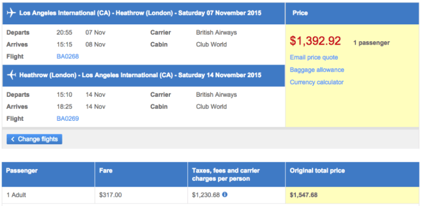 Los Angeles (LAX) to London (LHR) in business class on British Airways for $1,393.