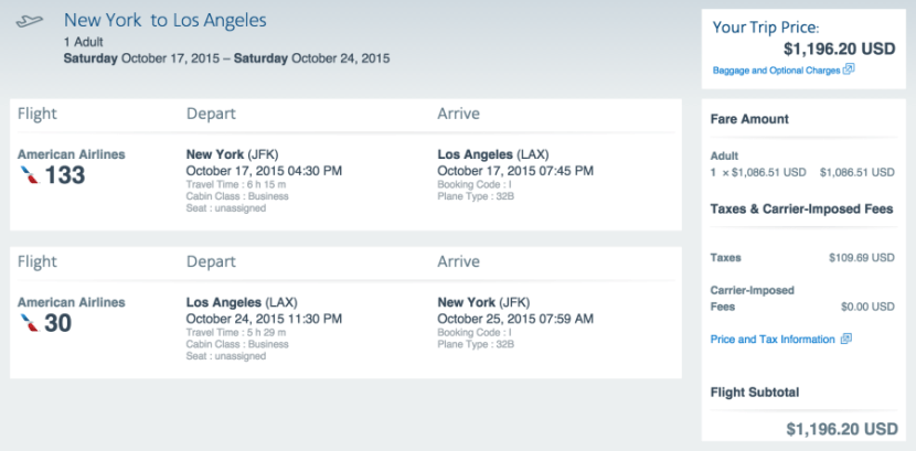 New York (JFK) to Los Angeles (LAX) for $1,196 in business class on American.