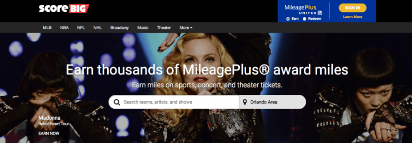 ScoreBig gives you 3 miles per dollar spent on a wide variety of live entertainment events.