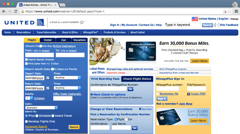 United's (much more functional) old website.
