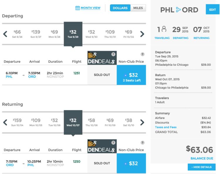 Philadelphia (PHL) to Chicago (ORD) for $63 round-trip.
