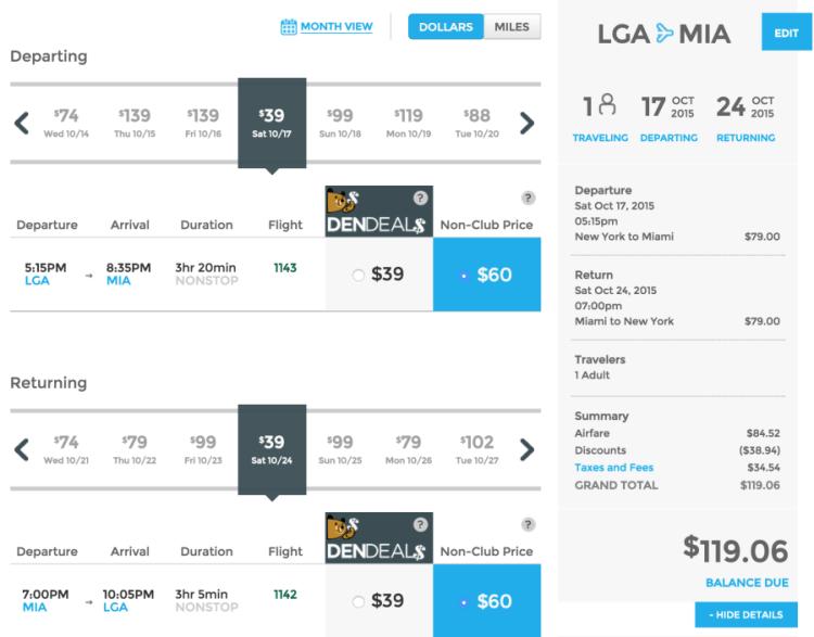 New York (LGA) to Miami (MIA) for $119 round-trip.